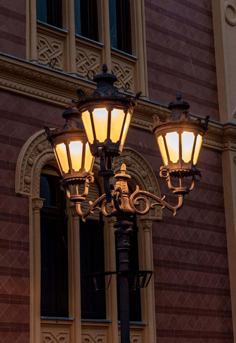 lamp, street, classic, cast iron, baroque, lantern, evening, rain, architecture, building