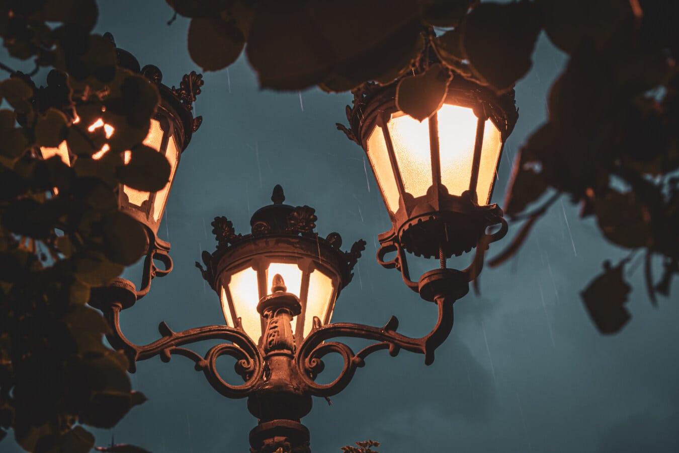 rain, lamp, cast iron, branches, lantern, retro, light, old, architecture, antique