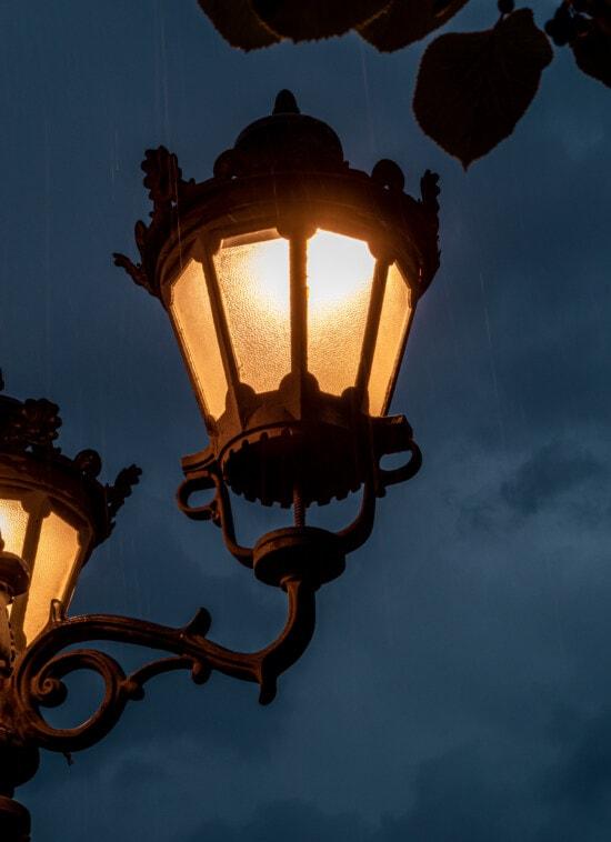 lamp, illumination, rain, night, street, architecture, lantern, device, light, old