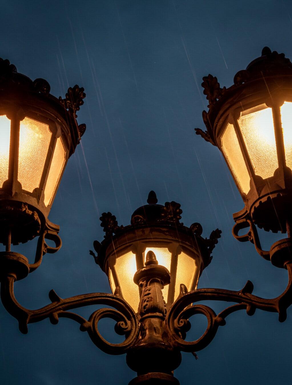 rain, evening, night, lantern, baroque, lamp, cast iron, classic, light, old