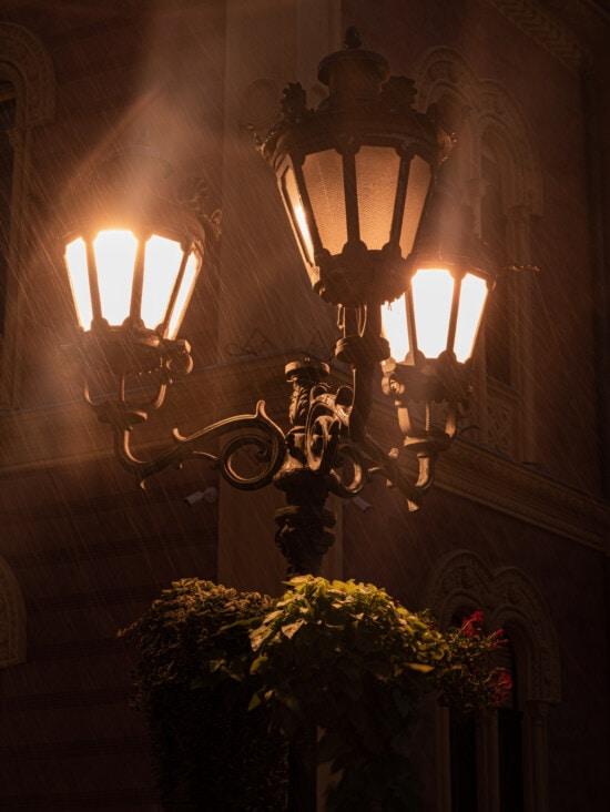 lampe, nuit, pluie, nuit, rue, fer de fonte, baroque, lumière, ampoule, électricité