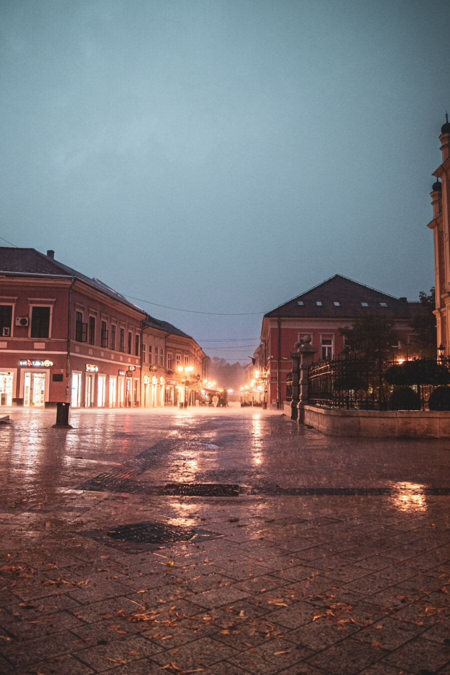 rain, bad weather, street, downtown, night, building, architecture, water, city, light