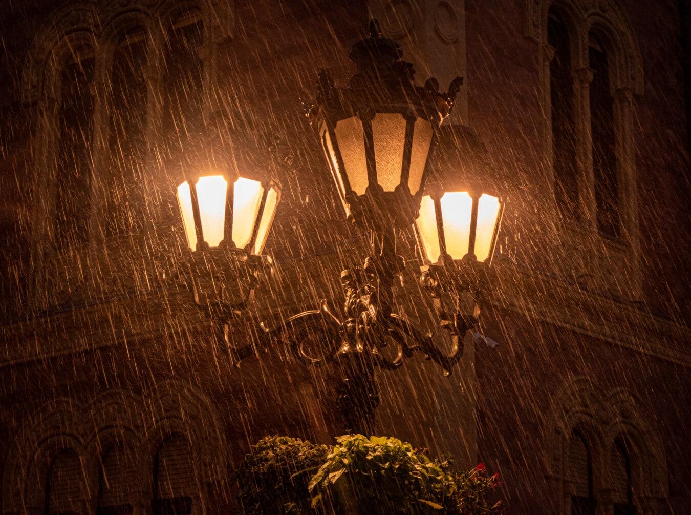 cast iron, classic, baroque, lantern, rain, night, lamp, light, dark, old