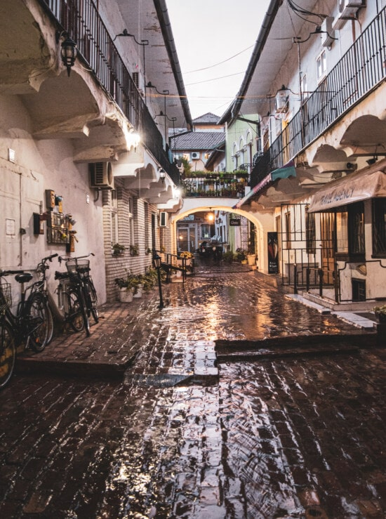 alley, passage, buildings, rain, street, architectural style, vintage, architecture, house, town