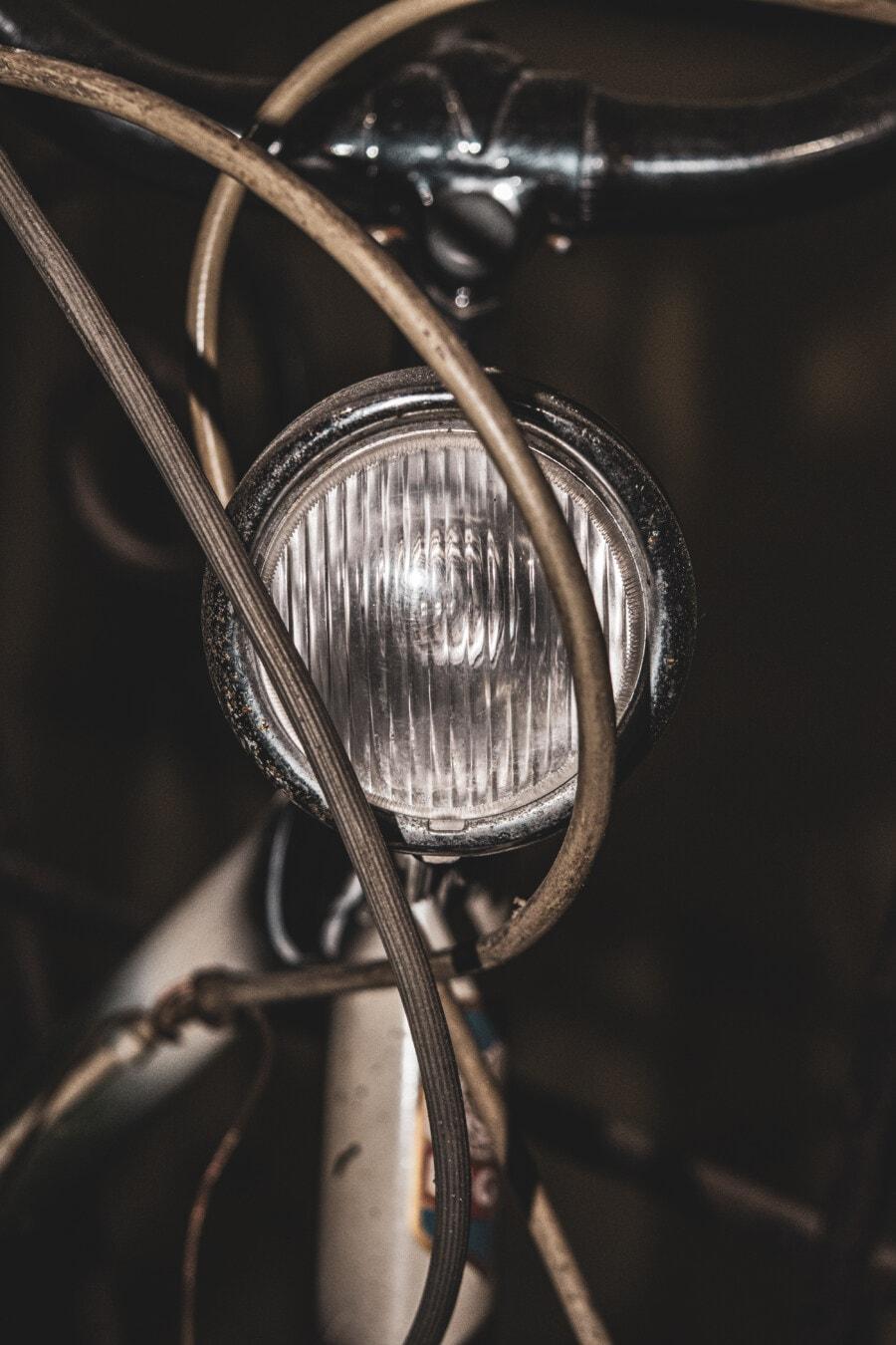 prednje svjetlo, bicikl, stari stil, klasično, starinsko, krom, izbliza, upravljač, nostalgija, staro