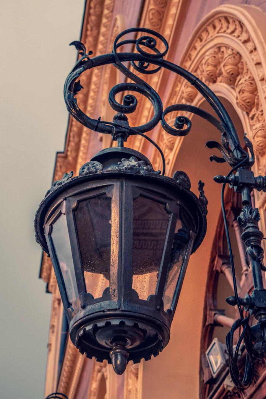 cast iron, lantern, walls, hanging, baroque, classic, handmade, vintage, antique, architecture
