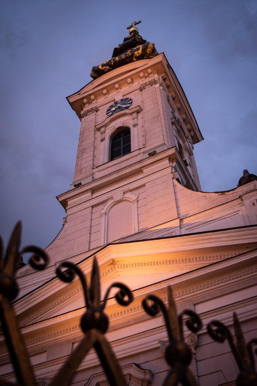 soirée, église, crépuscule, steeple, architecture, tour, bâtiment, religion, vieux, Ville