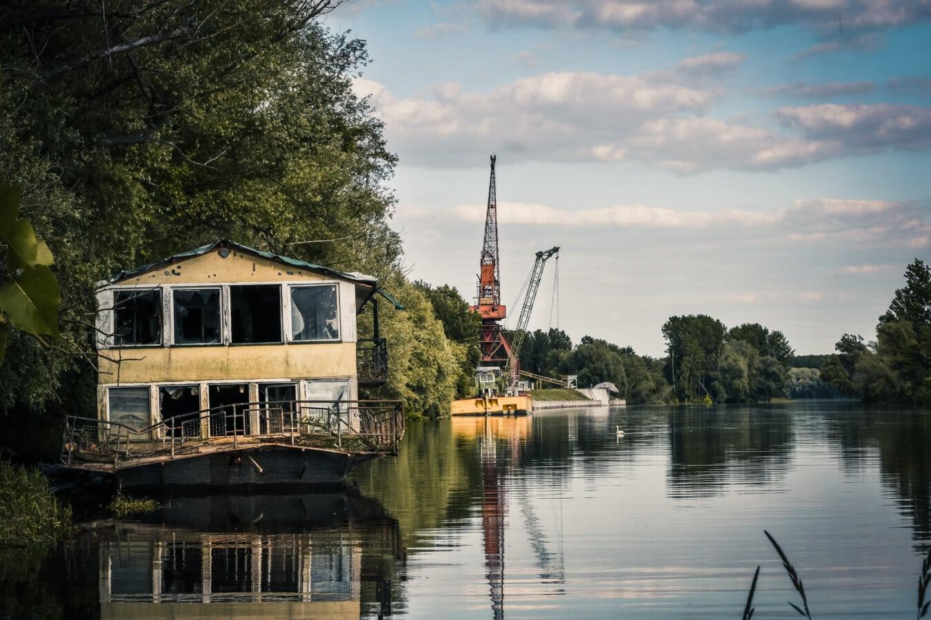verlassener, Bootshaus, Verfall, See, Hafen, Wasser, Fluss, Reflexion, im freien, Architektur