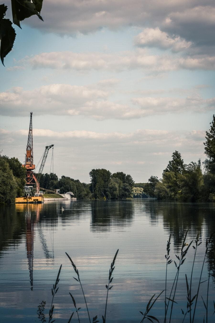 Hafen, Dock, am See, Wasser, See, Reflexion, Fluss, Dämmerung, Natur, Sommer