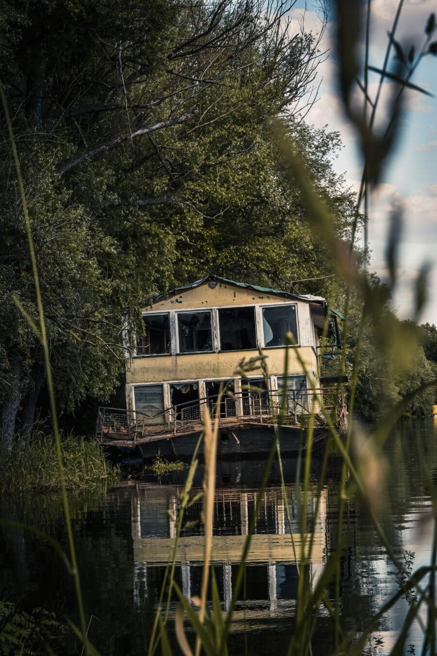 Vandalismus, Bootshaus, verlassener, alt, Verfall, Struktur, Gebäude, Wasser, Schuppen, See