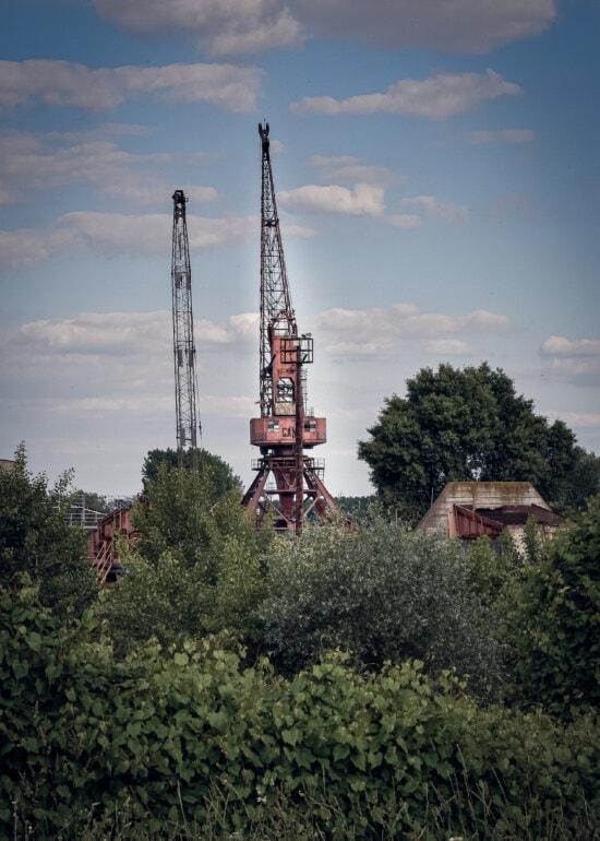 Factory, verlassener, Verfall, Branche, Turm, Bau, Gerät, Ausrüstung, Struktur, Kran