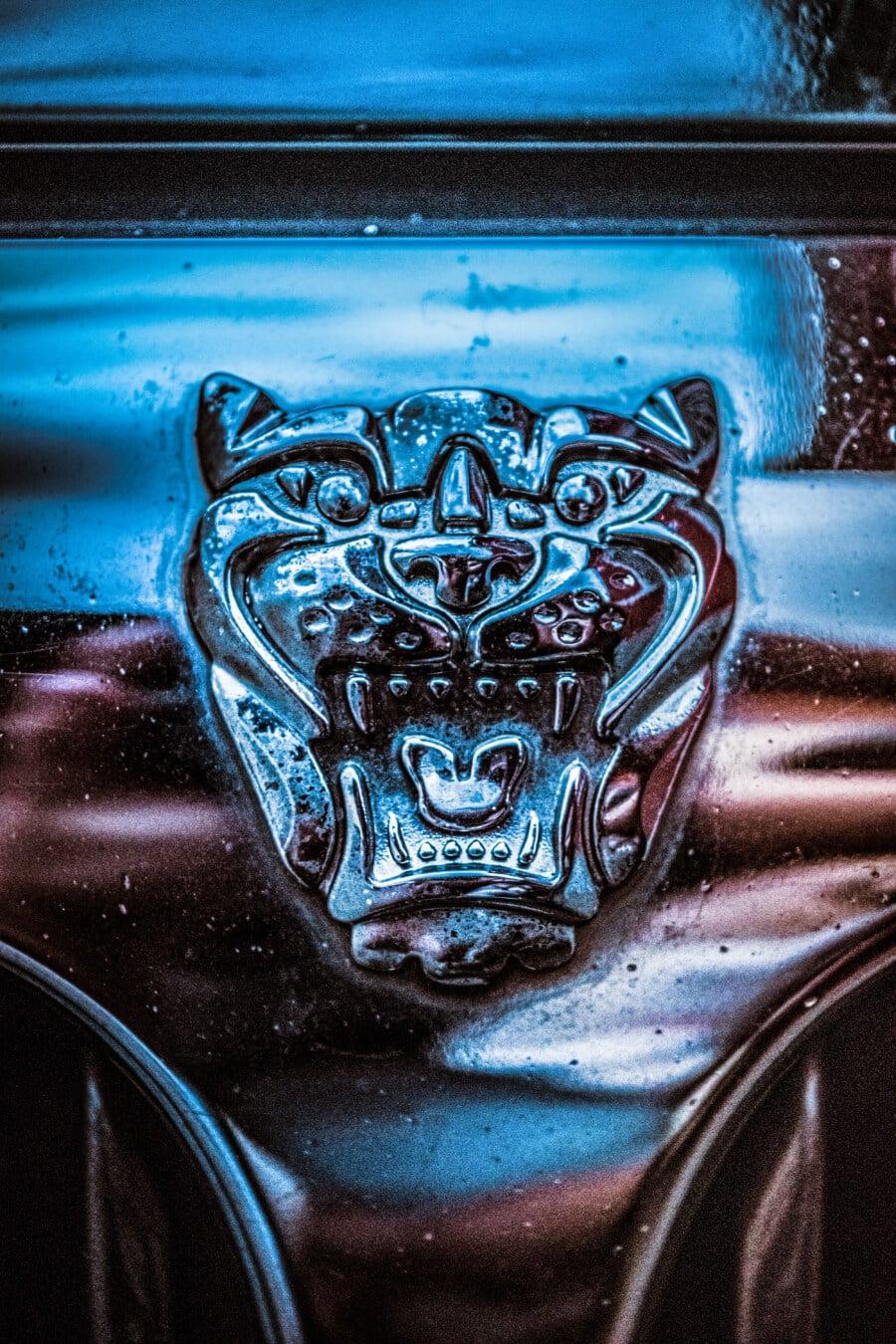 Jaguar, Chrom, Symbol, Zeichen, automotive, Detail, Auto, metallische, Limousine, Reflexion