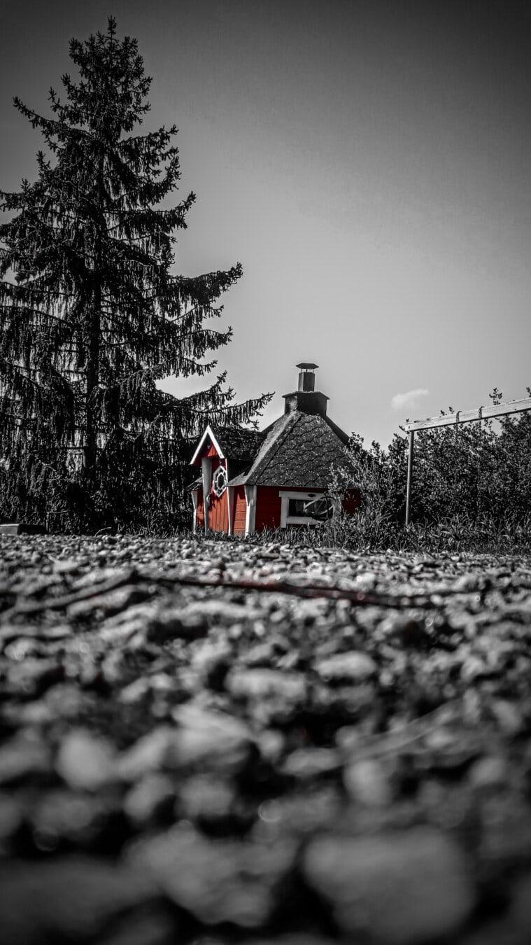 Dorf, Ferienhaus, Scheune, des ländlichen Raums, schwarz und weiß, Fotomontage, Verfall, verlassener, verlassen, Haus