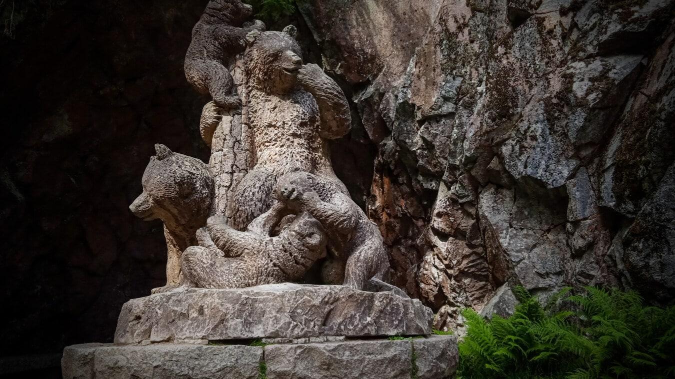 ourson, ours brun, ours, sculpture, ours, fait main, beaux arts, art, sculpture, statue de