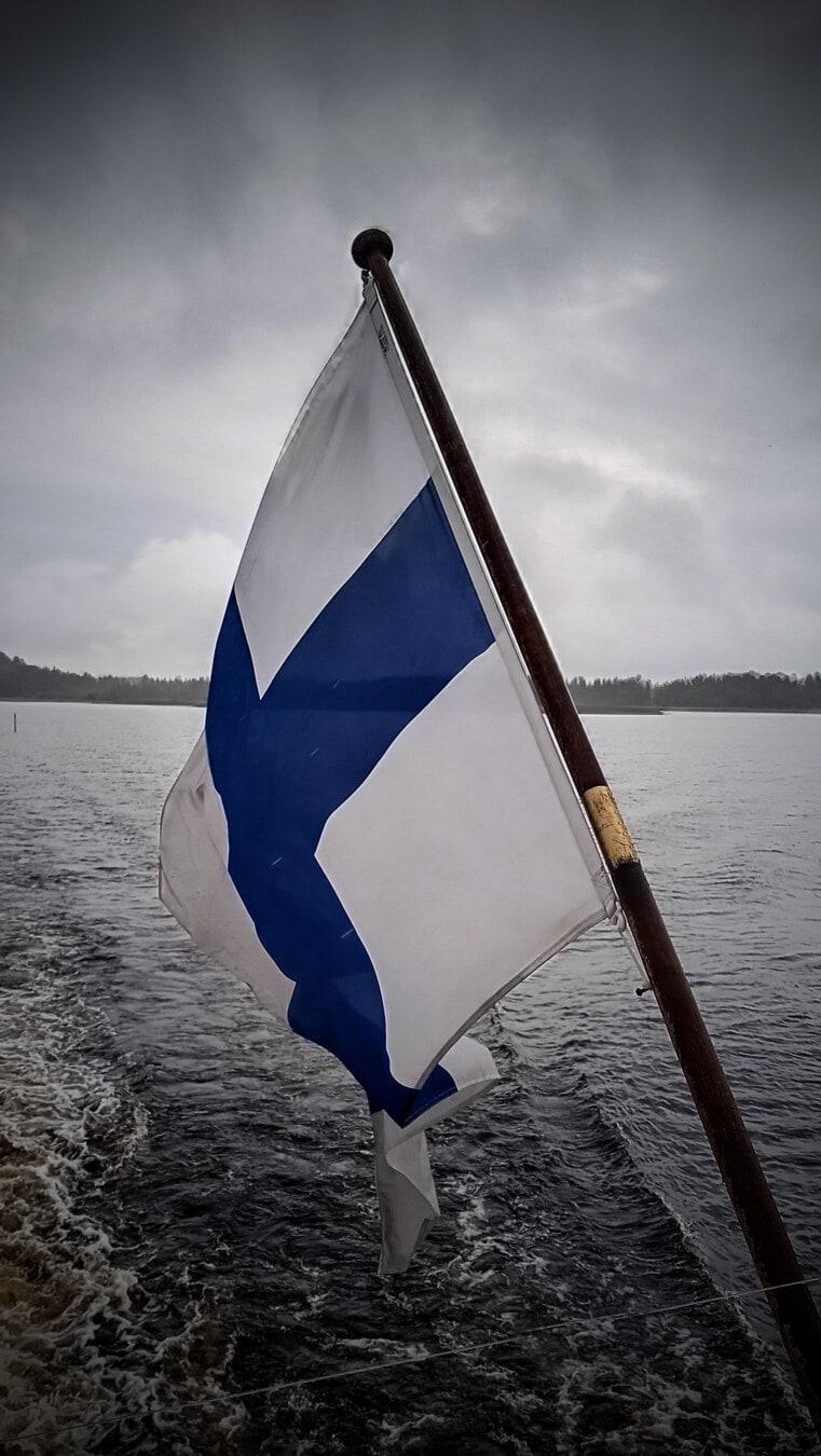 Finland flag, sailing, sailboat, blue, cross, wind, water, boat, ocean, sail