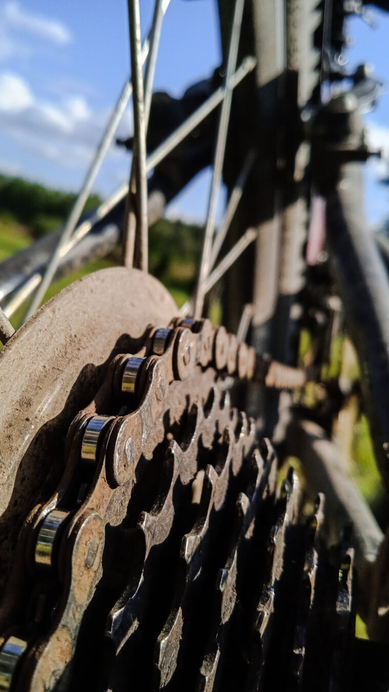 gear, mountain bike, bicycle, gearshift, chain, close-up, detail, bicycling, cast iron, steel