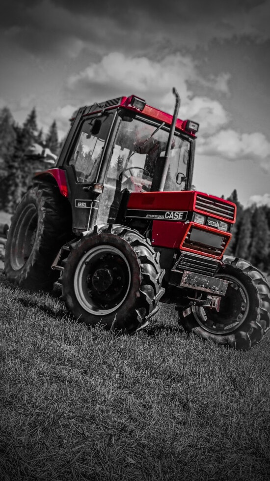 tractor, machine, red, vehicle, equipment, monochrome, wheel, farm, agriculture, tire