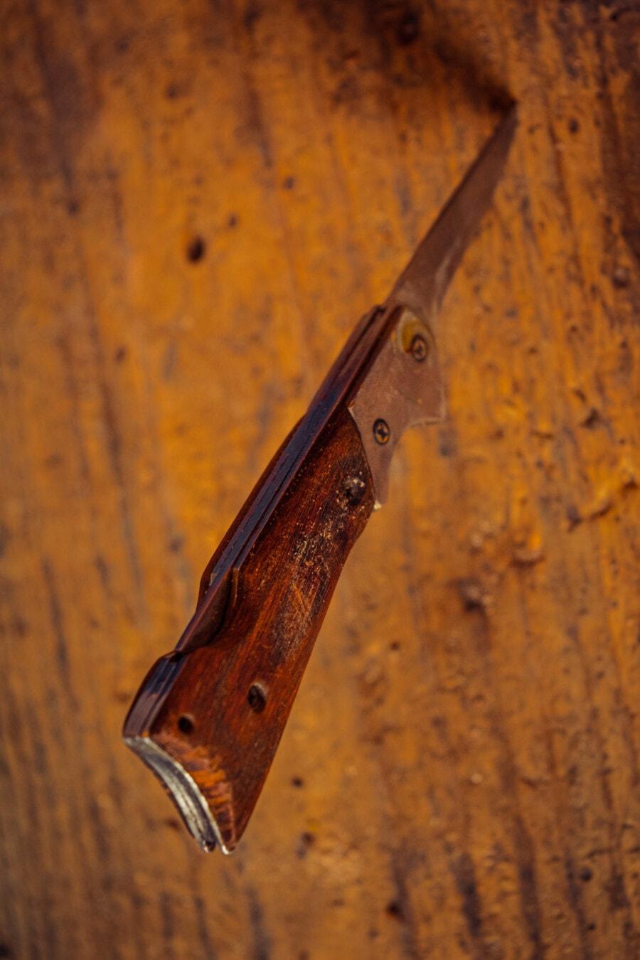 Hand-Werkzeug, Messer, alten Stil, Edelstahl, scharfe, Klinge, Anlage, aus Holz, Stahl, Retro