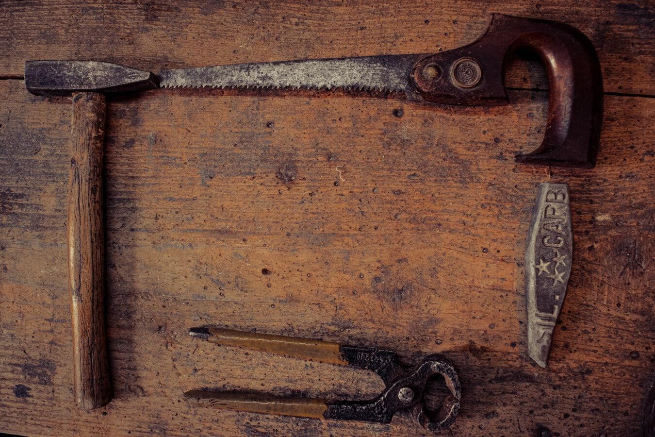 Atelier, atelier de réparation, menuiserie, outil, scie, outil à main, Hammer, lame, Pierre, tranchant
