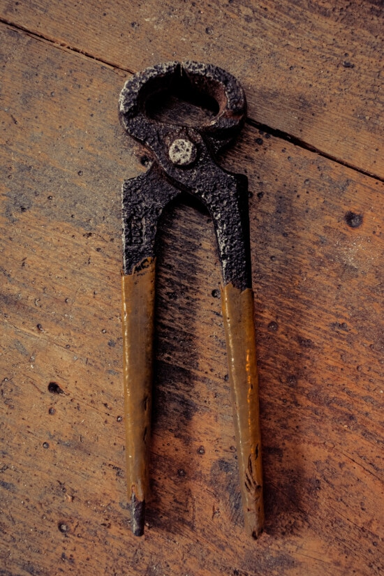 pliers, cast iron, old style, decay, vintage, hand tool, old, wood, steel, retro