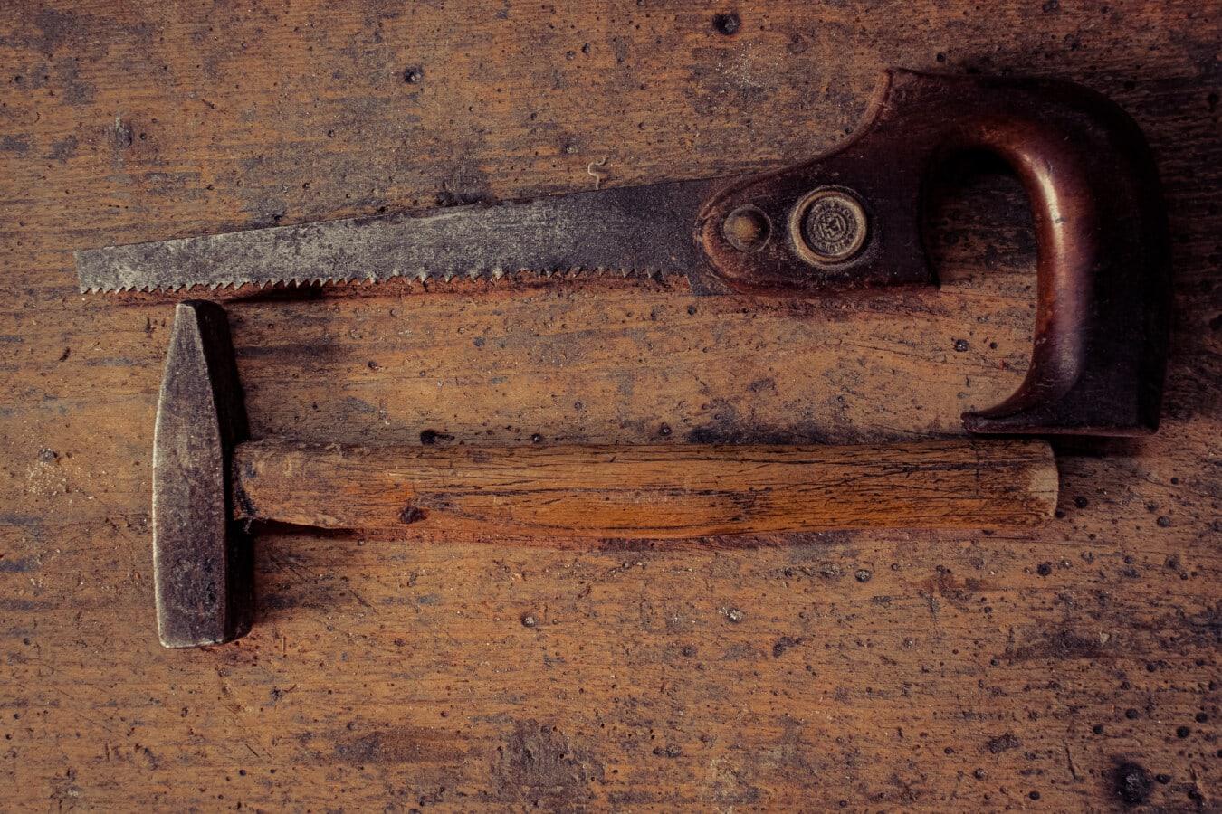 sciure de bois, scie, vieux, dent de scie, outil à main, Hammer, requin-marteau, outil, style ancien, démodé
