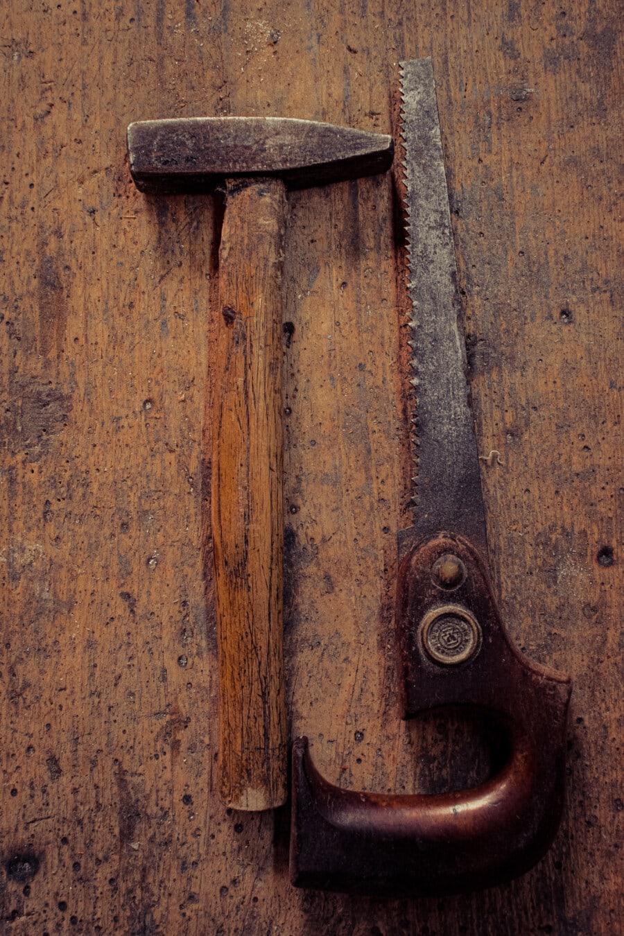 old, hammer, hammerhead, saw, sawdust, hand tool, workshop, rust, iron, latch