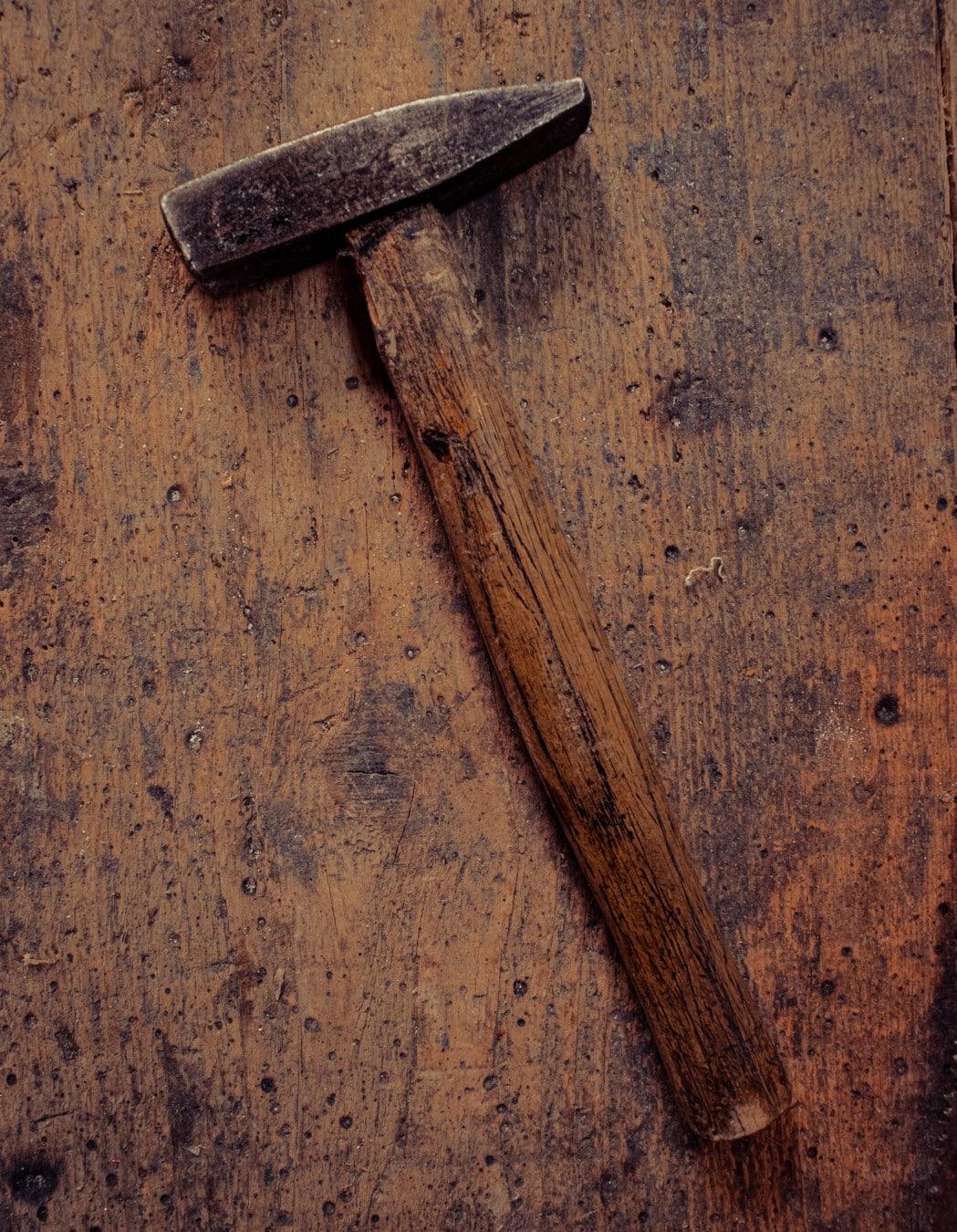 Hammer, requin-marteau, outil, outil à main, vintage, Rough, sombre, en bois, bois, menuiserie
