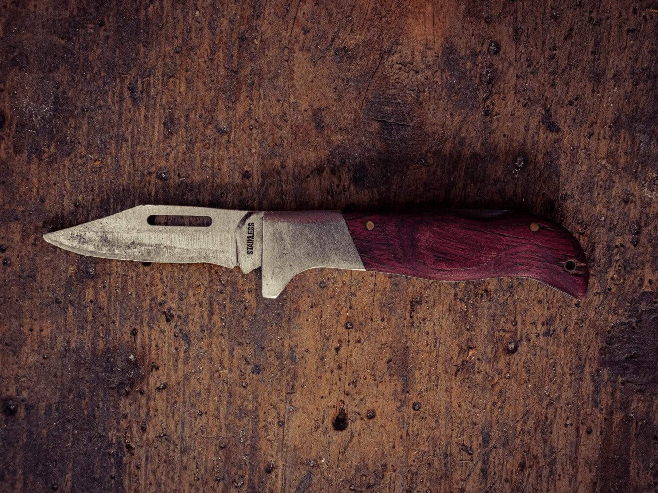 Edelstahl, scharfe, Messer, Klinge, Jahrgang, alten Stil, Plank, aus Holz, Textur, Eisen