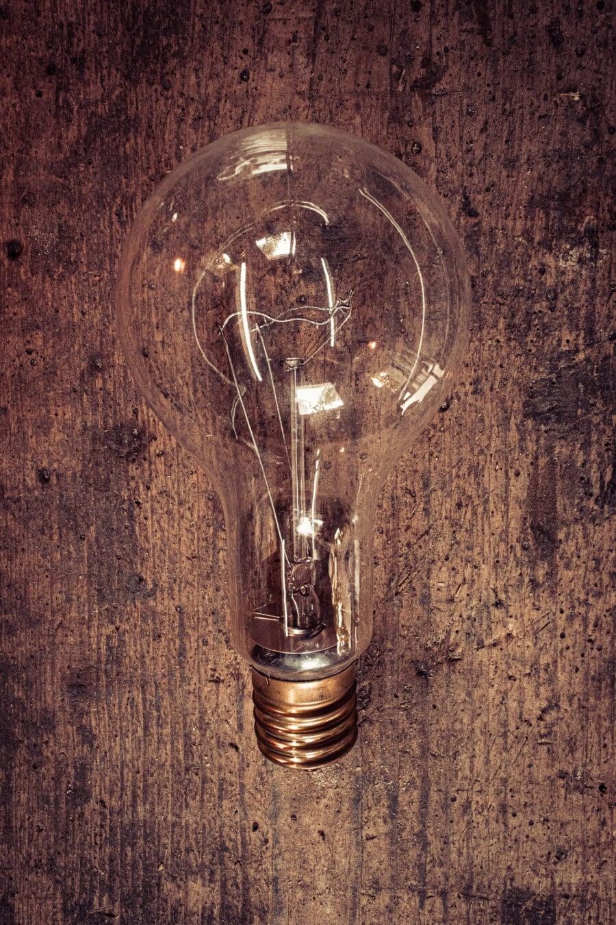 Glühbirne, Erfindung, die Idee der, alten Stil, Jahrgang, Reflexion, glänzend, Filament, Strom, alt