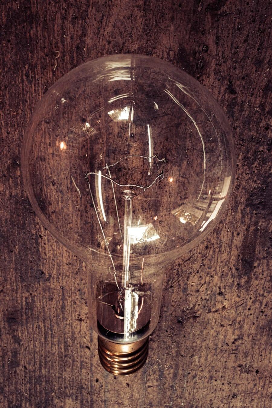 ampoule, gros, fil, filament, fluorescent, électricité, lampe, verre, ampoule, retro