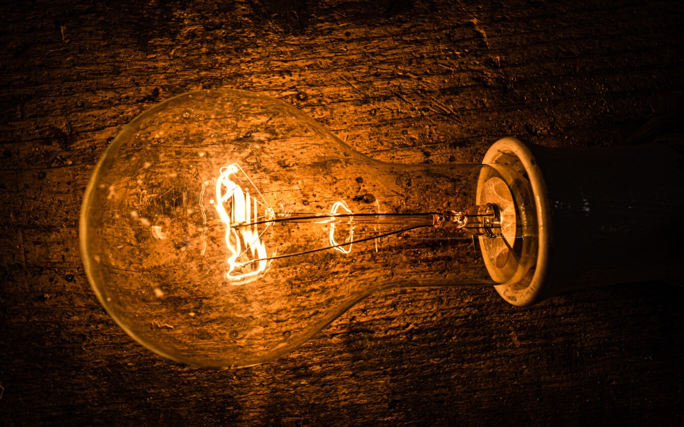 ampoule, horizontal, fermer, vintage, ampoule, lampe, lumière, sombre, énergie, électricité