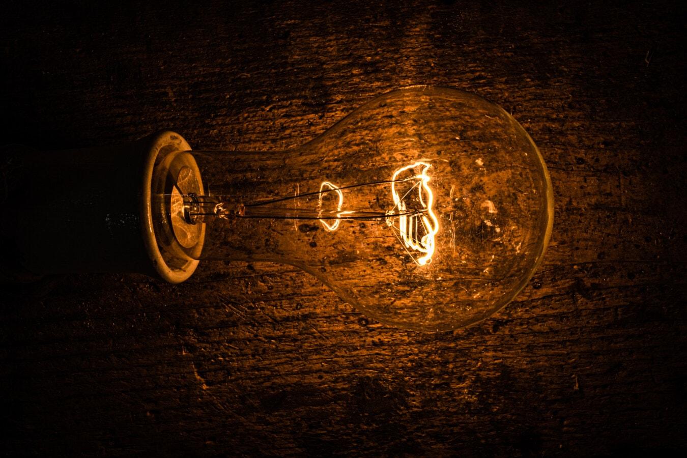 light bulb, illumination, filament, luminescence, darkness, vintage, light, lamp, dark, bulb