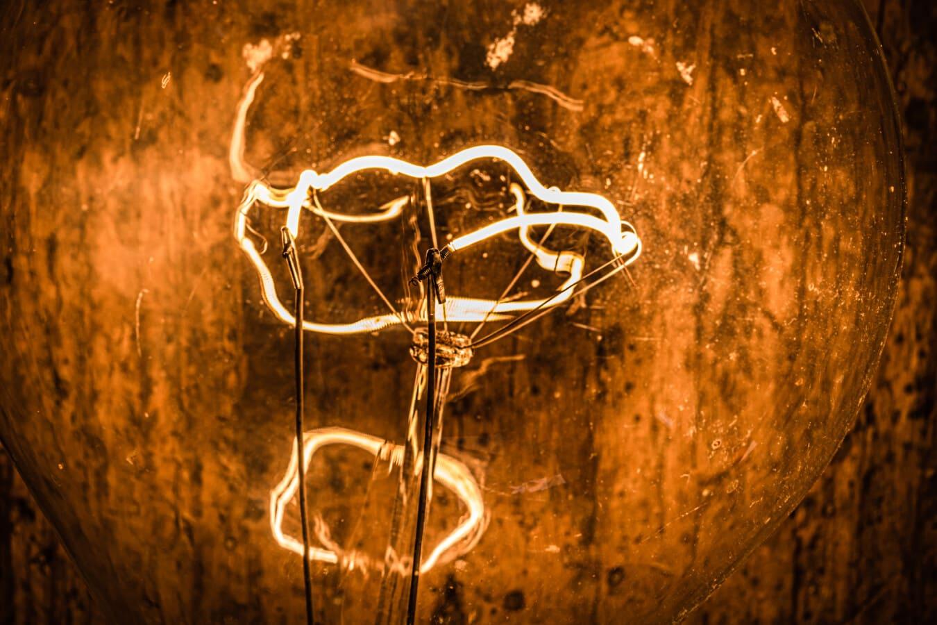 Glühbirne, Elektro, innen, aus nächster Nähe, Spannung, transparente, Jahrgang, Glas, Strom, Lampe