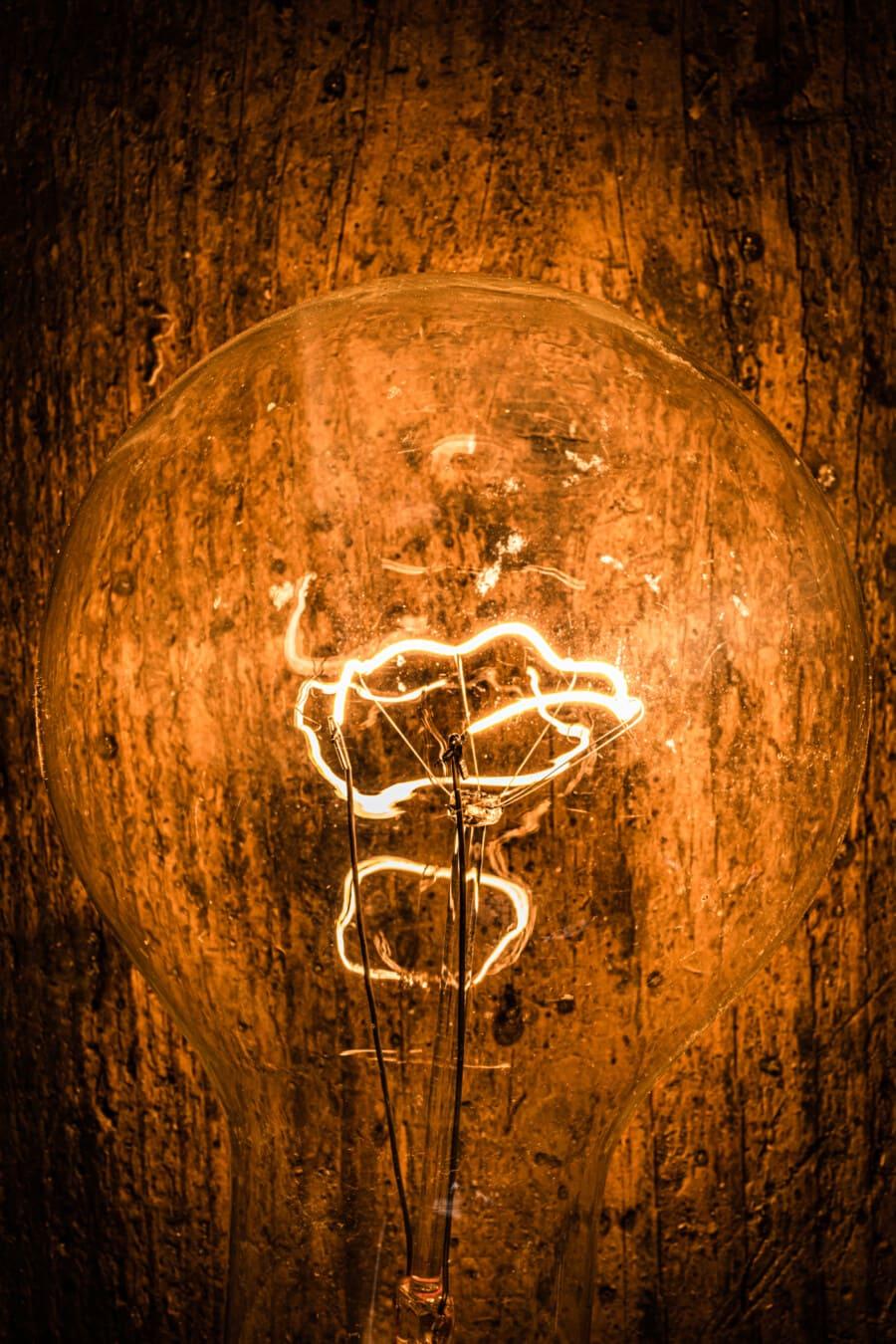 ampoule, sale, vintage, fils, filament, fermer, vieux, sombre, lampe, ampoule