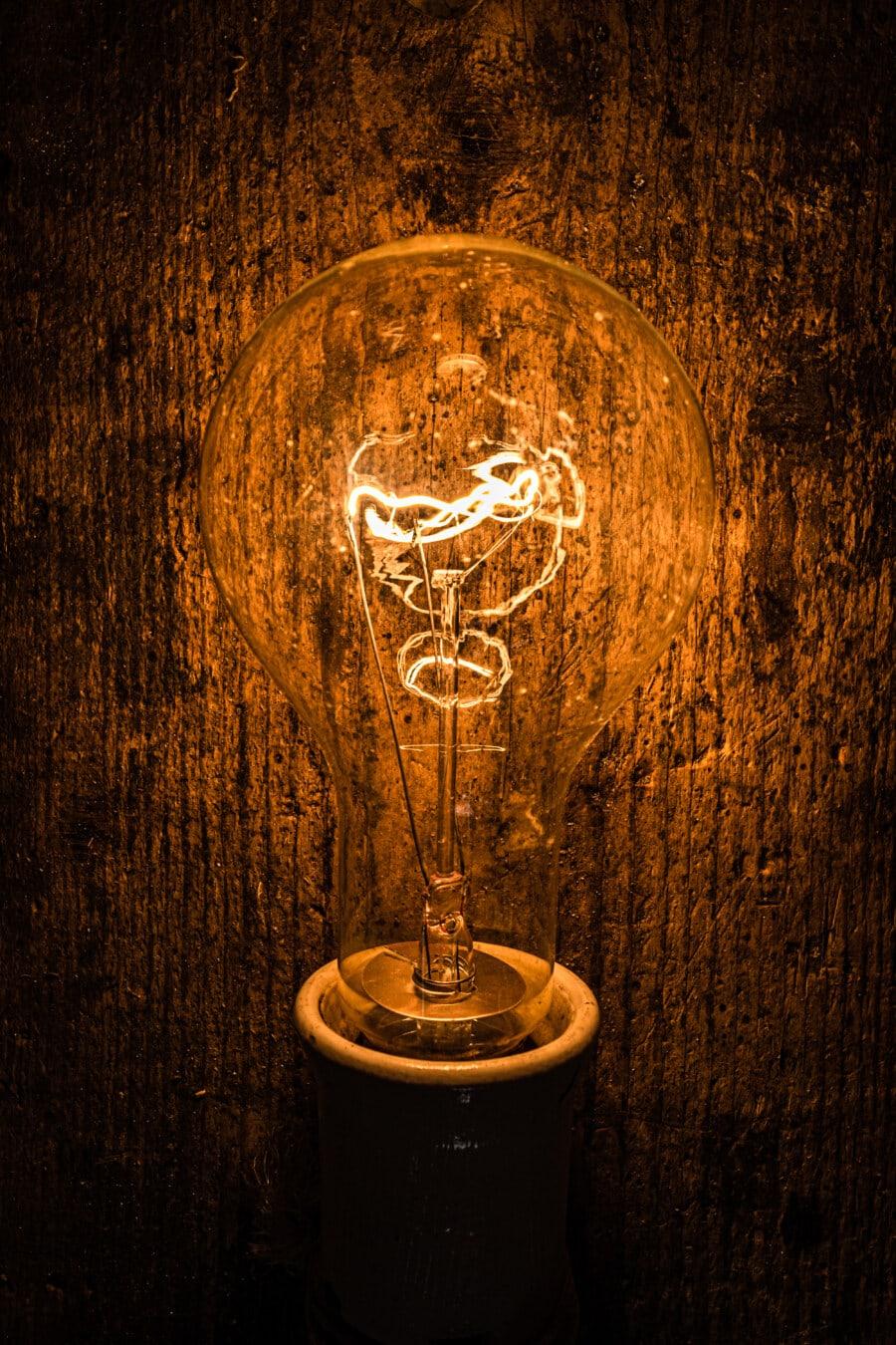 Licht, Glühbirne, hell, Jahrgang, Antike, Filament, Drähte, Erfindung, die Idee der, Dunkel