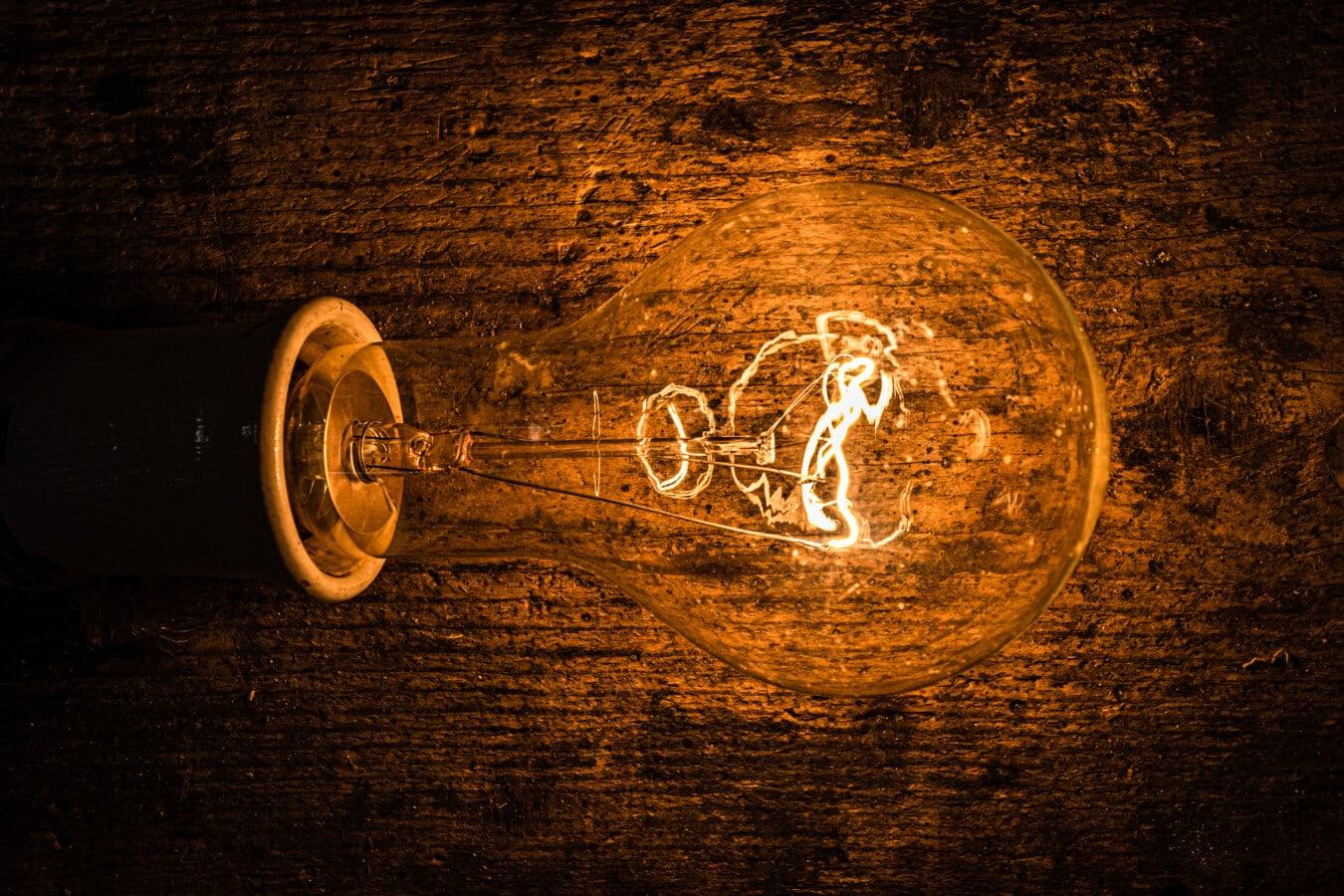 전구, 밝은, 발광, 형광, 필 라 멘 트, 전기, 전압, 어둠, 오래 된 스타일, 빛