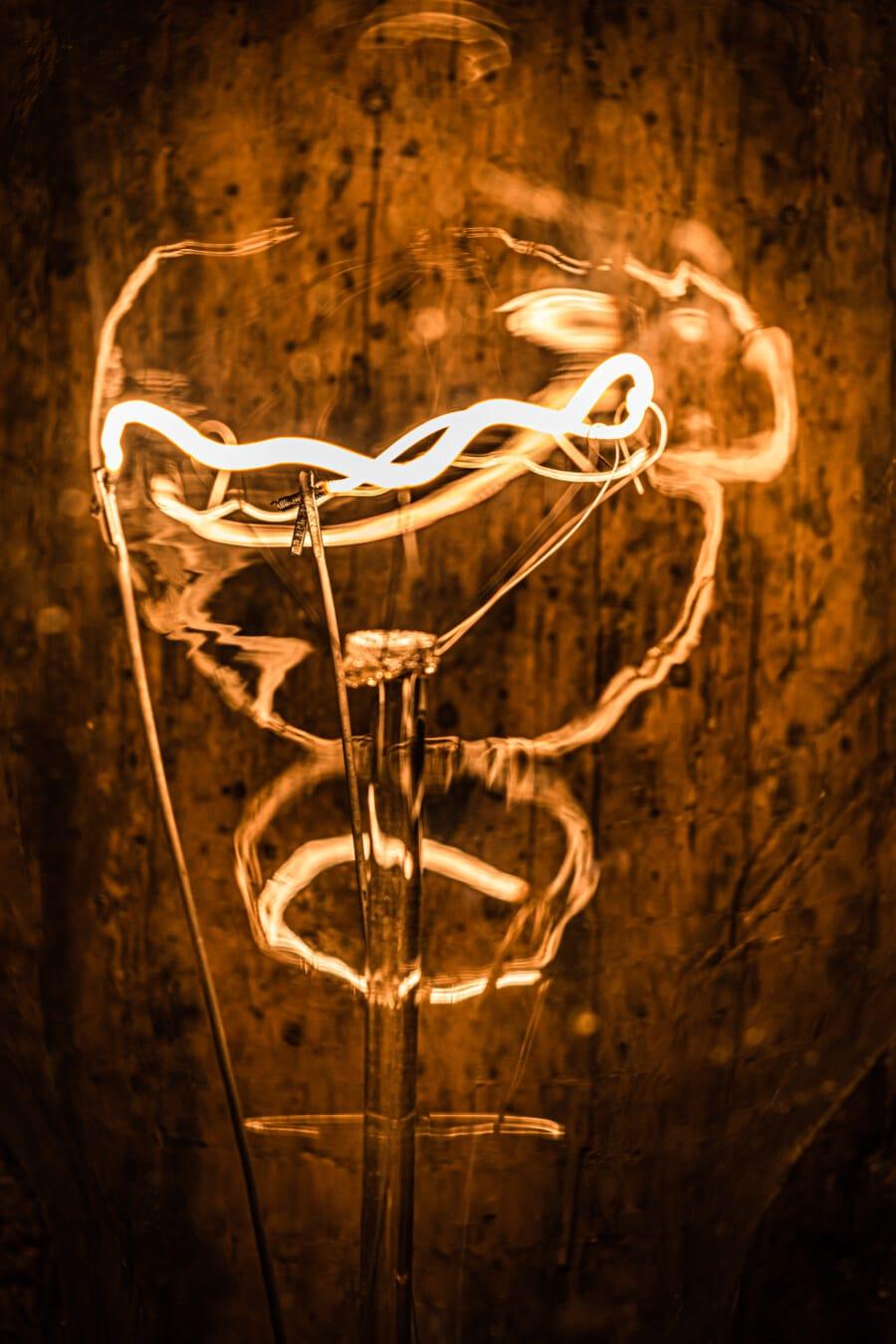 brillant, luminescence, fluorescent, filament, en détail, ampoule, fermer, électricité, énergie, invention