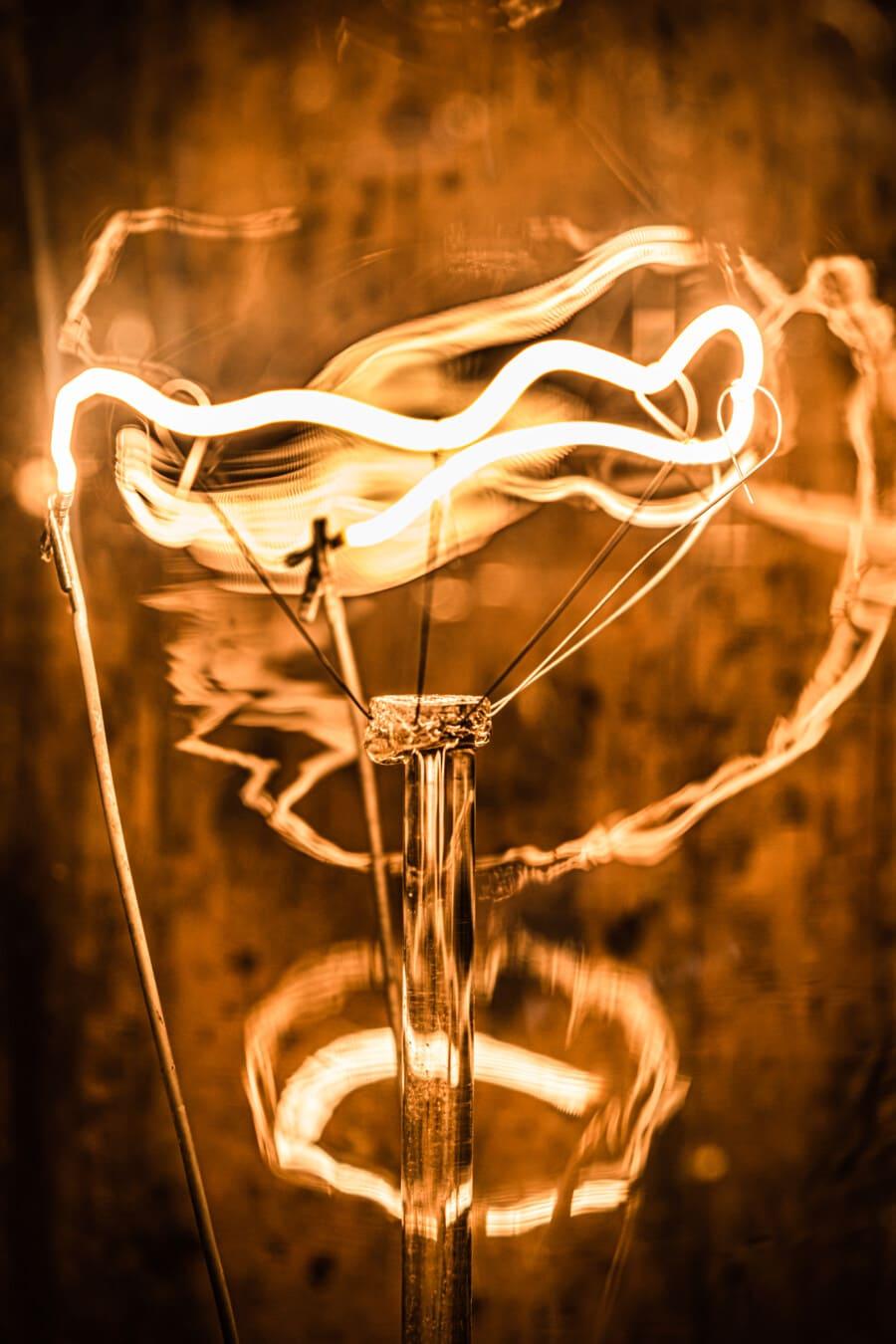 photographie, macro, filament, ampoule, fils, tension, électricité, lumière, illustration, luminosité
