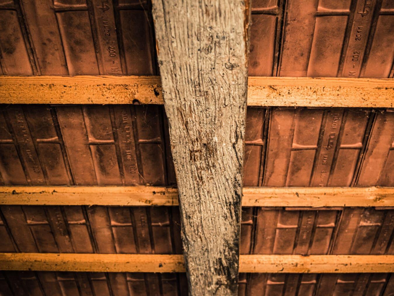 toit, en dessous, vintage, céramique, tuiles, bois, sale, vieux, retro, en bois