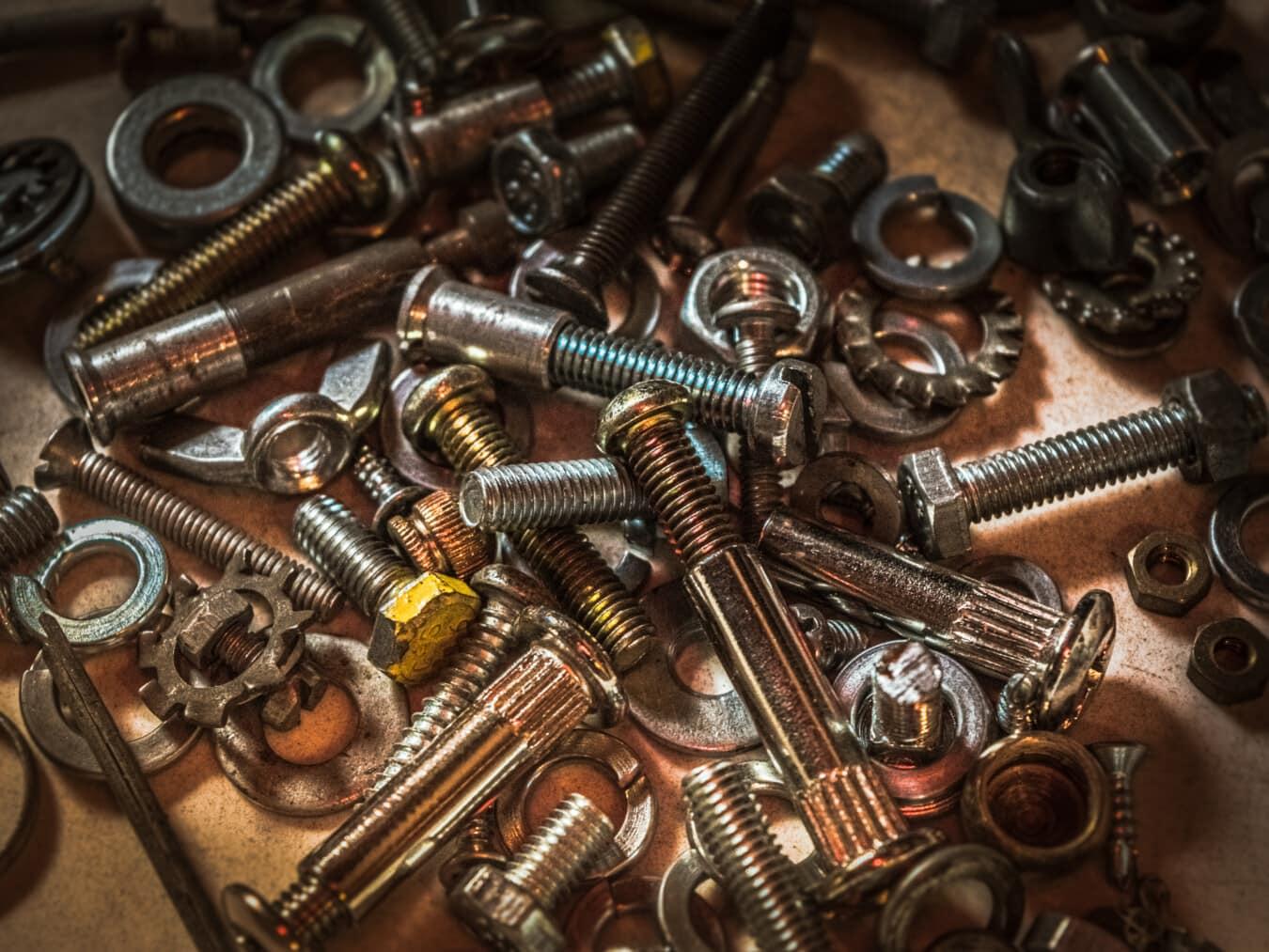 screw, bunch, hardware, repair shop, workshop, metal, parts, metalware, nuts, steel