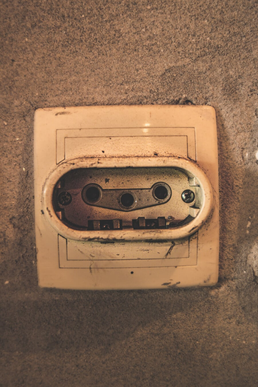 electricity, wall, connection, plastic, vintage, old, retro, dirty, analogue, art