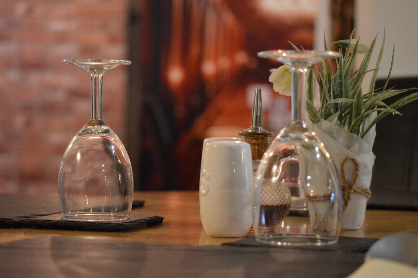 verre, verrerie, crystal, nappe, table, vaisselle, restaurant, salle à manger, conteneur, à manger