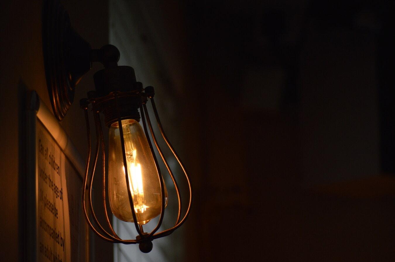 Lampe, Antik, Glühbirne, Lamm, Lumen, Schatten, Wand, aus Gusseisen, Draht, Strom