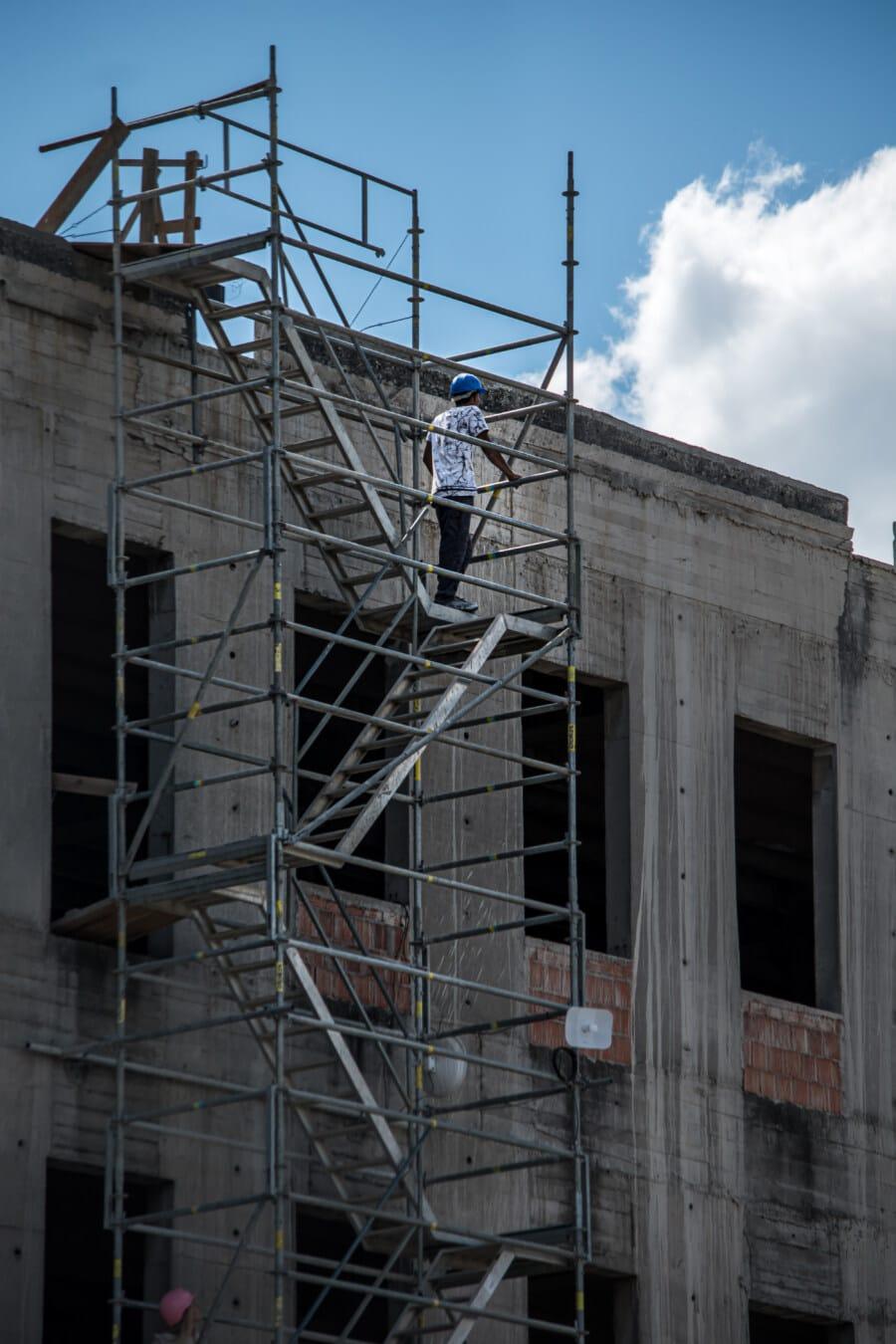 Bauarbeiter, Bau, Treppe, Gebäude, Branche, Ingenieurwesen, Architektur, Stahl, hoch, Beton