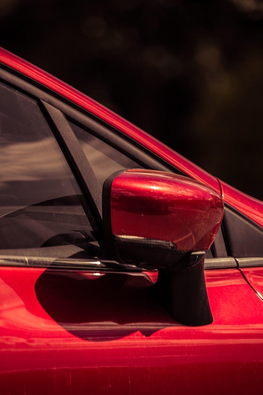 side view, mirror, automobile, close-up, window, reddish, paint, metallic, car, vehicle