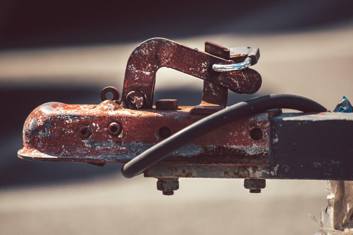 hook, trailer, cast iron, transport, device, iron, steel, rust, retro, old