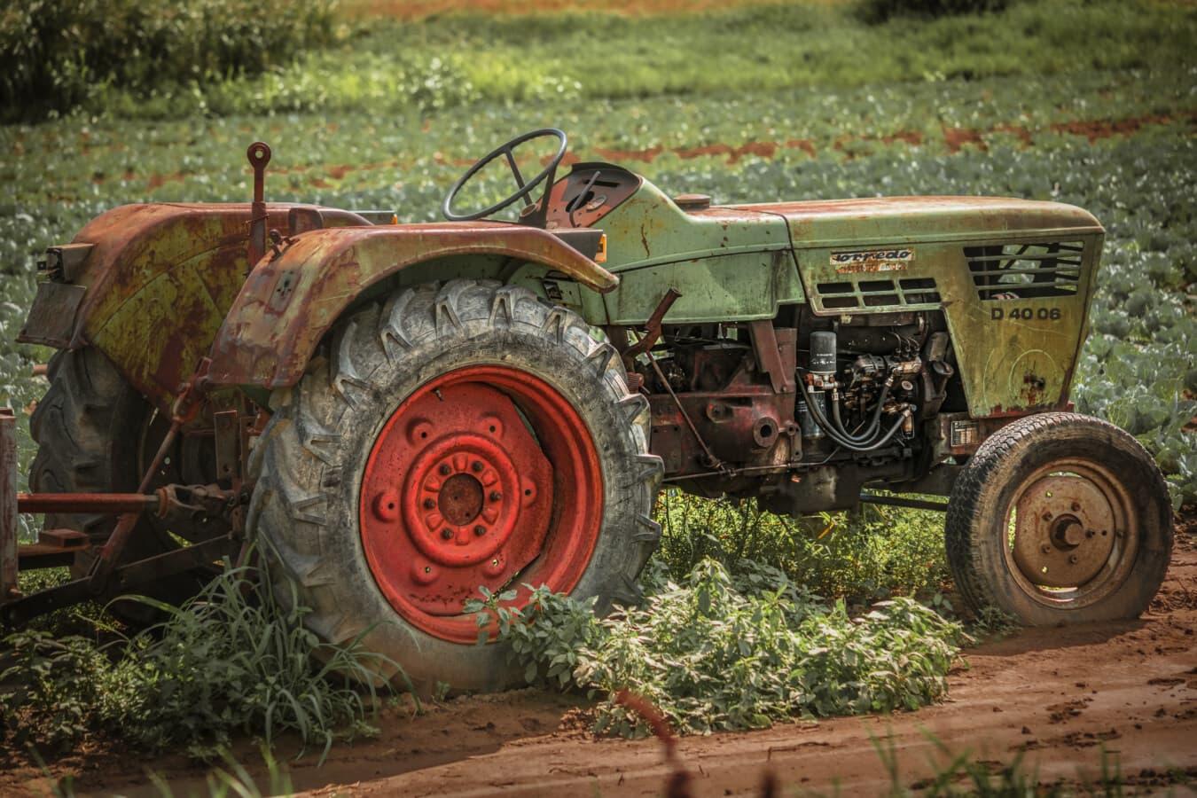 mécanisation, rural, tracteur, véhicule, Agriculture, village, travail sur le terrain, remise en conformité, abandonné, carie