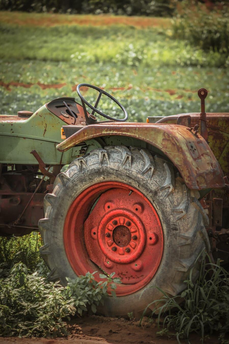 old, rust, tractor, farmland, tire, machine, device, wheel, farm, agriculture