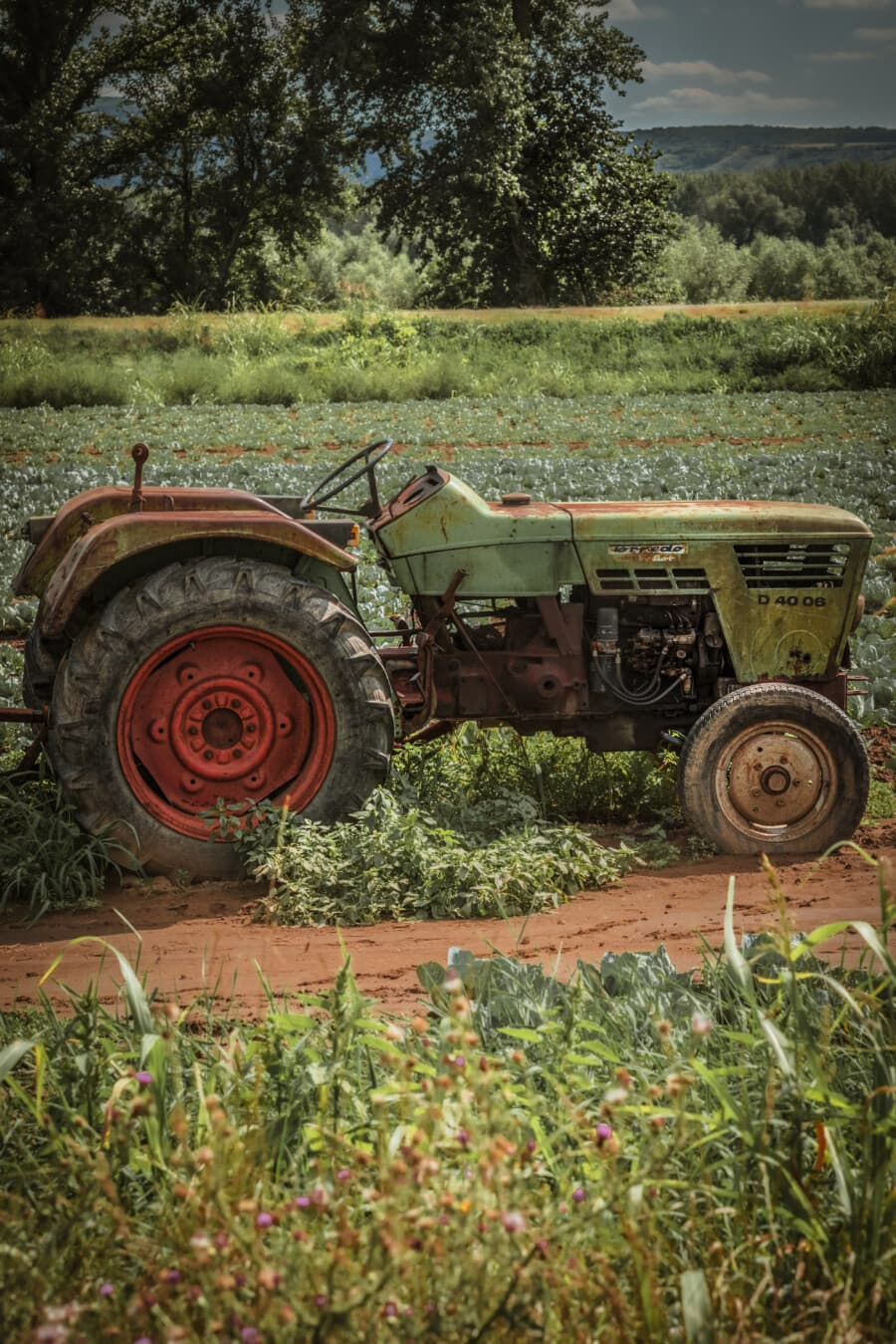 old, rust, tractor, agriculture, field work, machine, mechanization, side view, rural, equipment