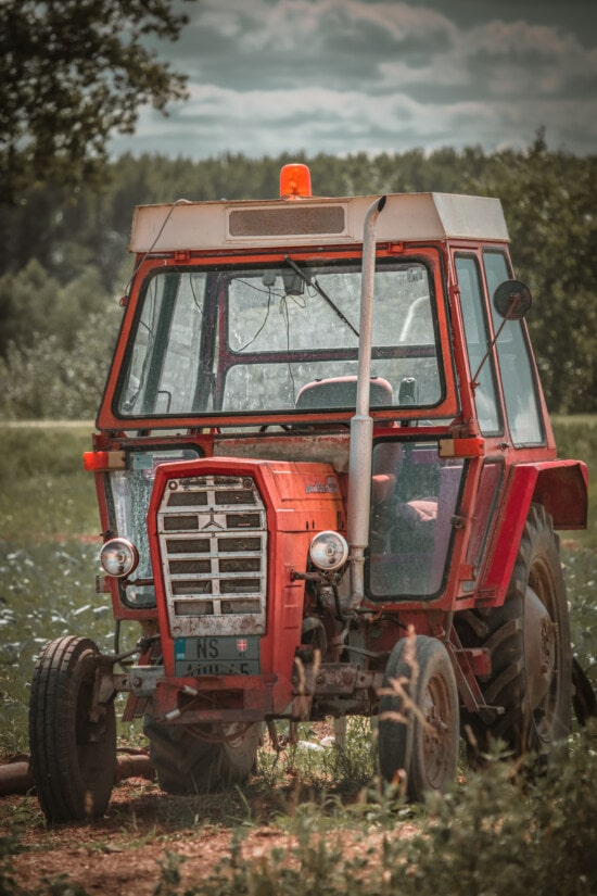 red, tractor, rural, old style, mechanization, headlight, windshield, vehicle, device, machine